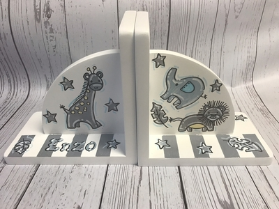 Bookends - Gray Animals | Kids Bookends
