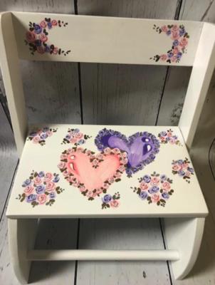 Large ~ Flip Stools - Double Hearts | Girls Flip Stools