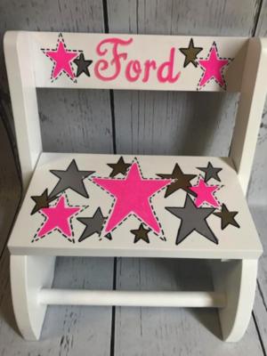 Small ~ Flip Stools - Pink & Gray Stars | Girls Flip Stools