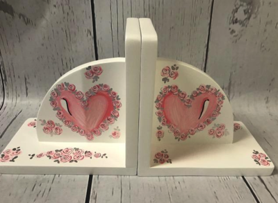 Bookends - Double Hearts / Pink | Kids Bookends