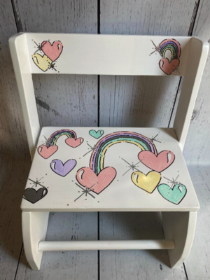 Large ~ Flip Stools - Pastel Rainbows | Girls Flip Stools