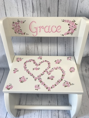 Large ~ Flip Stool-Open Hearts Flowers | Girls Flip Stools