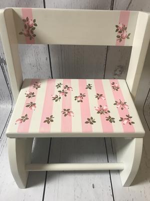 Small ~ Flip Stools-Stripes and Roses | Girls Flip Stools