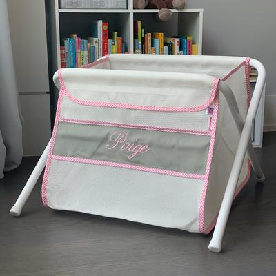 Mesh Toy Box - Gray w/ Pink Gingham Trim | Mesh Toy Boxes