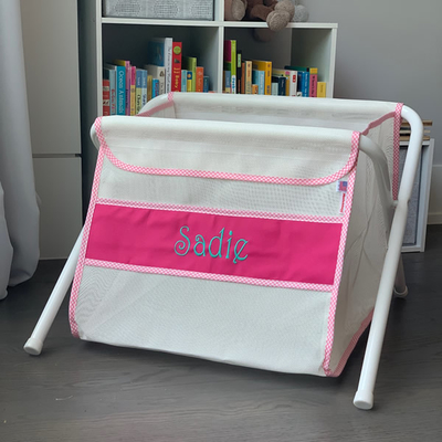 Mesh Toy Box - Pink w/ Pink Gingham Trim | Mesh Toy Boxes