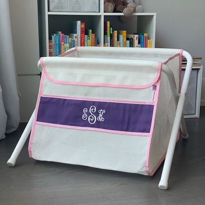 Mesh Toy Box - Purple w/ Pink Gingham Trim | Mesh Toy Boxes