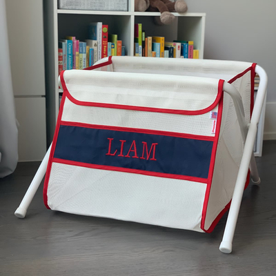 Mesh Toy Box - Red & Navy   Mesh Toy Boxes