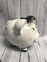 Image Piggy Bank - Black & White Tiara Pig