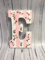 Image Painted Letter - Pink Stripes & Roses