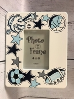 Image 4x6 Wooden Frame - Blue/White Sports Design