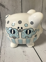 Image Piggy Bank - Blue Elephants