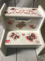 Image Two Step Stool - Butterflys Pink & Gold