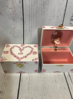 Image Jewelry Box -  Open Heart Pink & Silver