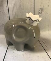 Image Piggy Bank -  Gray Coco Elephant w/ Rhinestones