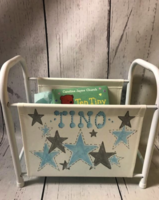 Image Book Basket - Blue & Gray Stars