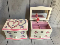 Image Jewelry Box -  Double Heart Pink & Lilac