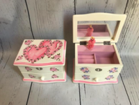 Image Jewelry Box -  Double Hearts / Pink