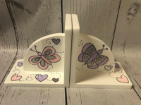 Image Bookends - Pink / Lilac Butterflys