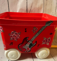 Image Pull Wagon - Red Guitar & Roses