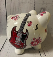 Image Piggy Bank - Guitar & Roses