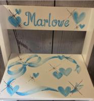 Image Small ~ Flip Stools -Blue Bows & Hearts