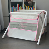 Image Mesh Toy Box - Gray w/ Pink Gingham Trim