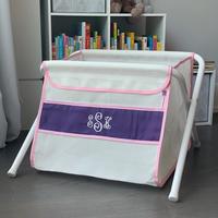 Image Mesh Toy Box - Purple w/ Pink Gingham Trim