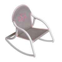 Image Canvas Rocking Chair - Gray w/ Pink Gingham Trim